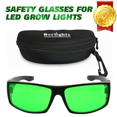 Derlights Indoor Grow Light Glasses,Anti UV,Color Correction,Protective Goggles for Intense LED Lighting Visual in Grow Room & Greenhouse
